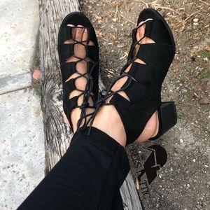 Vegan Suede Lace Up Chunky Peep Toe Sandal